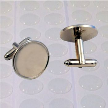 Cufflink Pair Round 18mm silver and clear dome